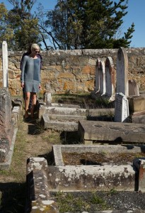 Buckland Church gravestones compressed near Port Arthur
